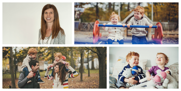 collage of cmo erin young and family