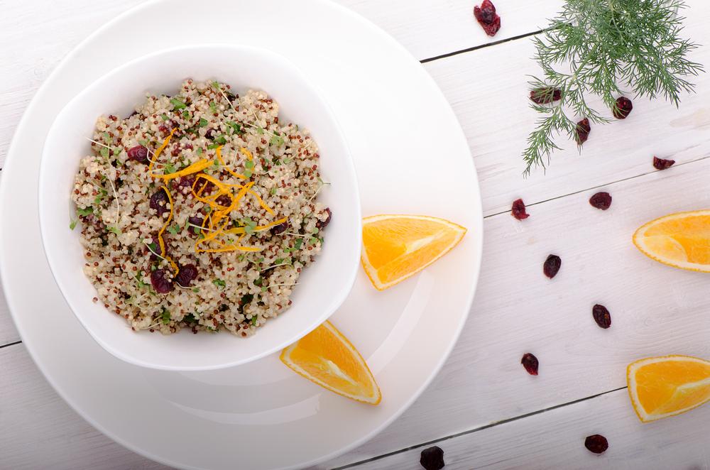 Quinoa salad with cranberries and orange