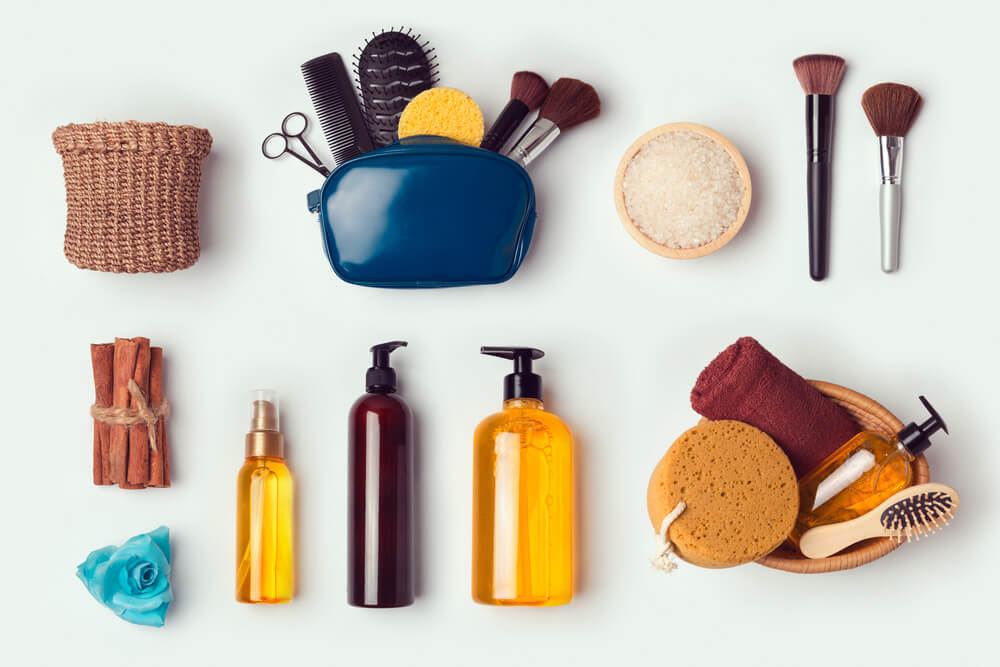 flat lay of cosmetic and personal hygiene products