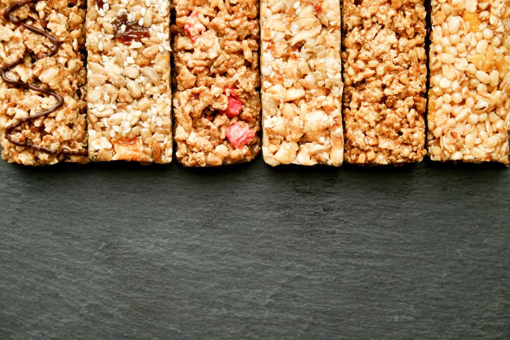 row of various granola bars