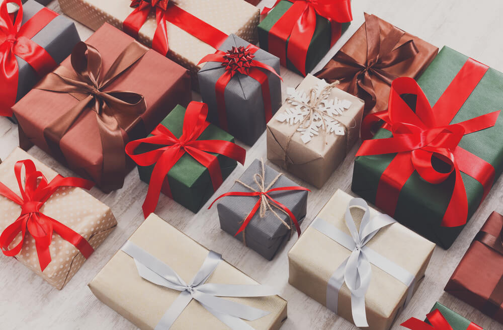 Lots of gift boxes on wood background