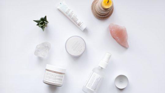 Beauty product flatlay