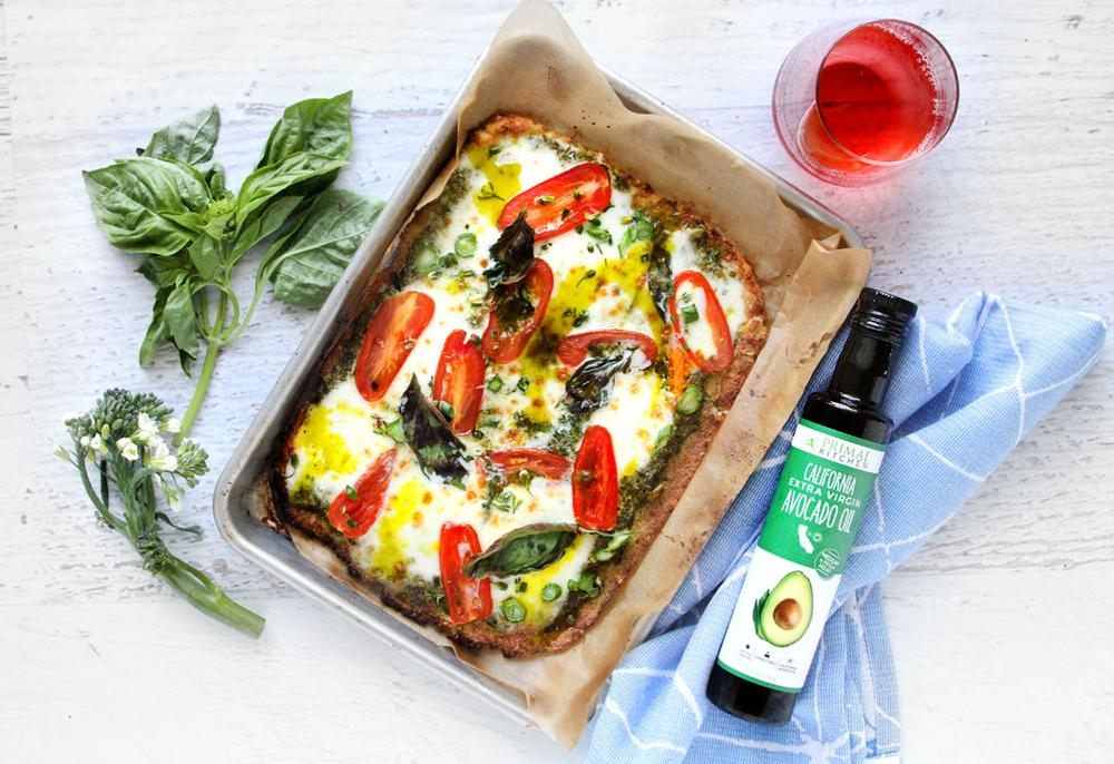 Pesto Keto Cauliflower Pizza from Primal Kitchen