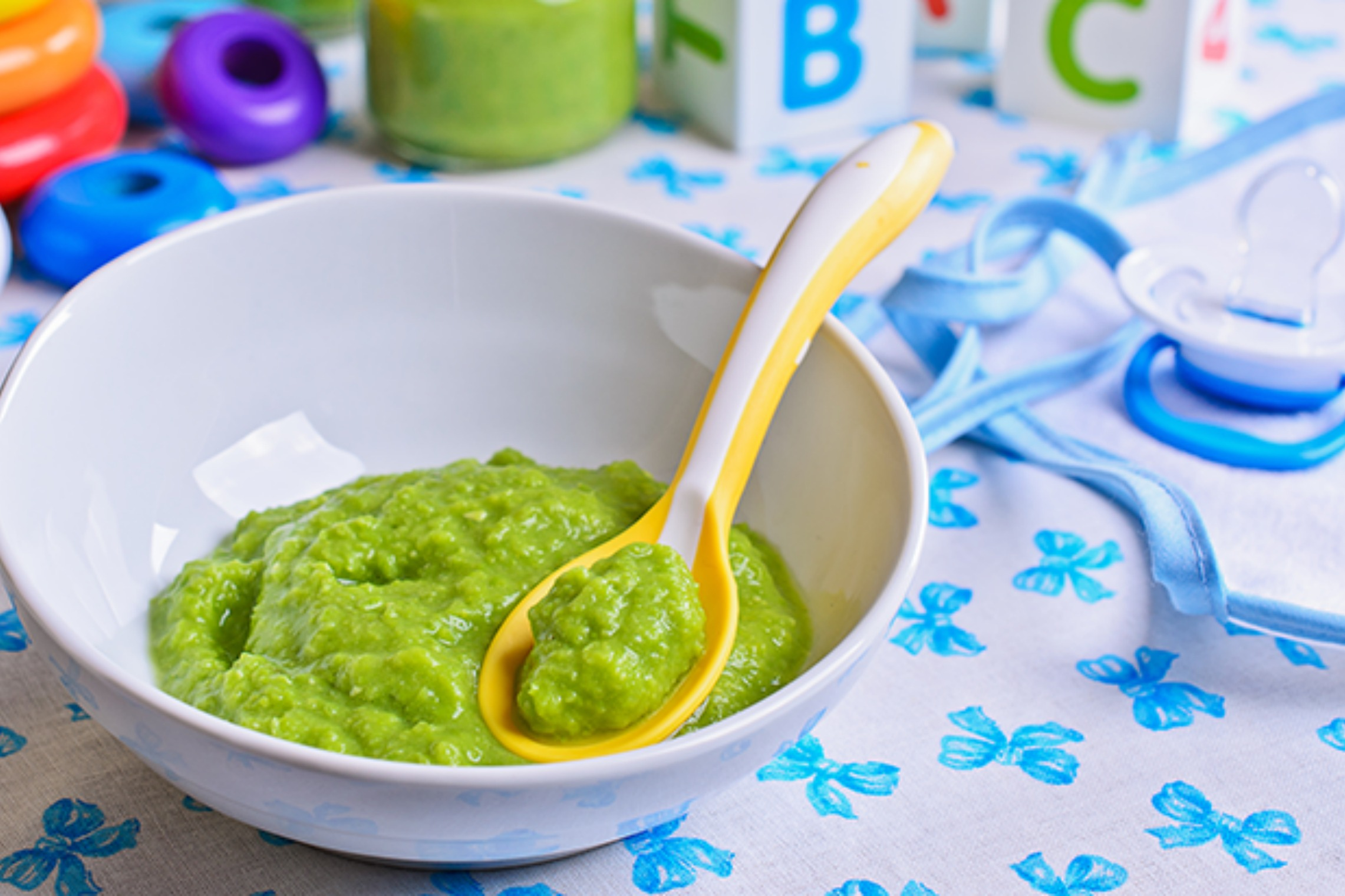 Image of green homemade baby food in a bowl