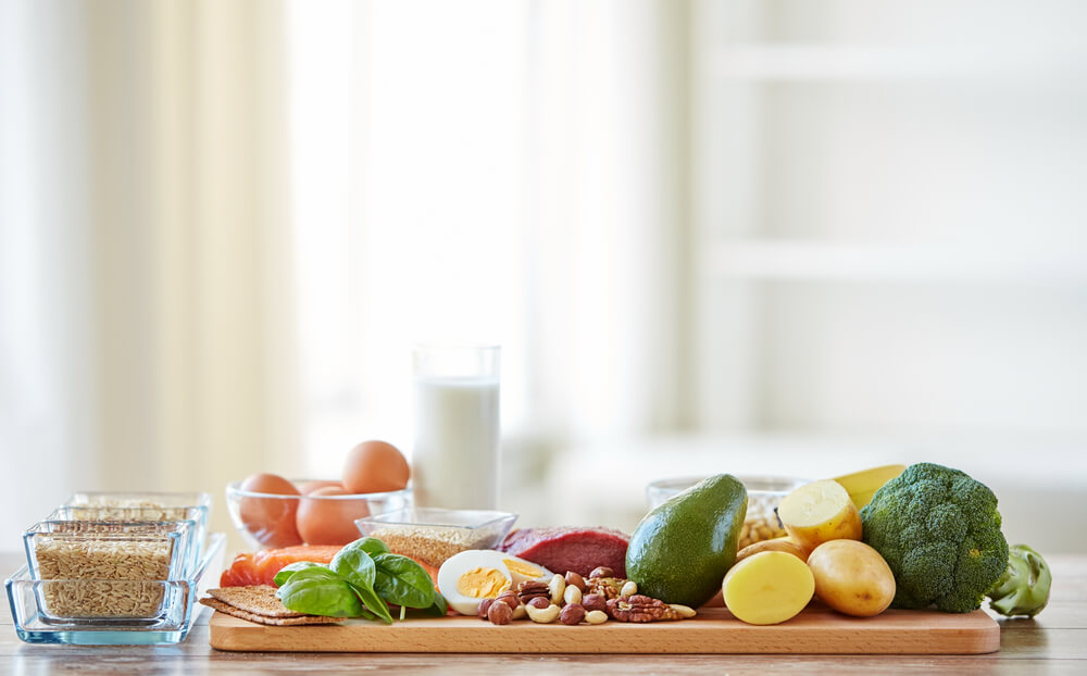 Kitchen counter full of healthy foods