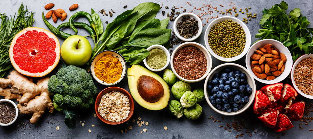 Colourful healthy food on a grey background