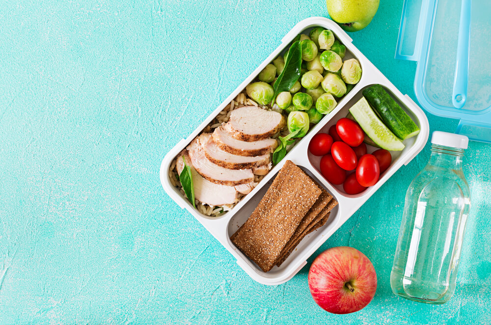 Flat lay of a packed lunch on a teal background