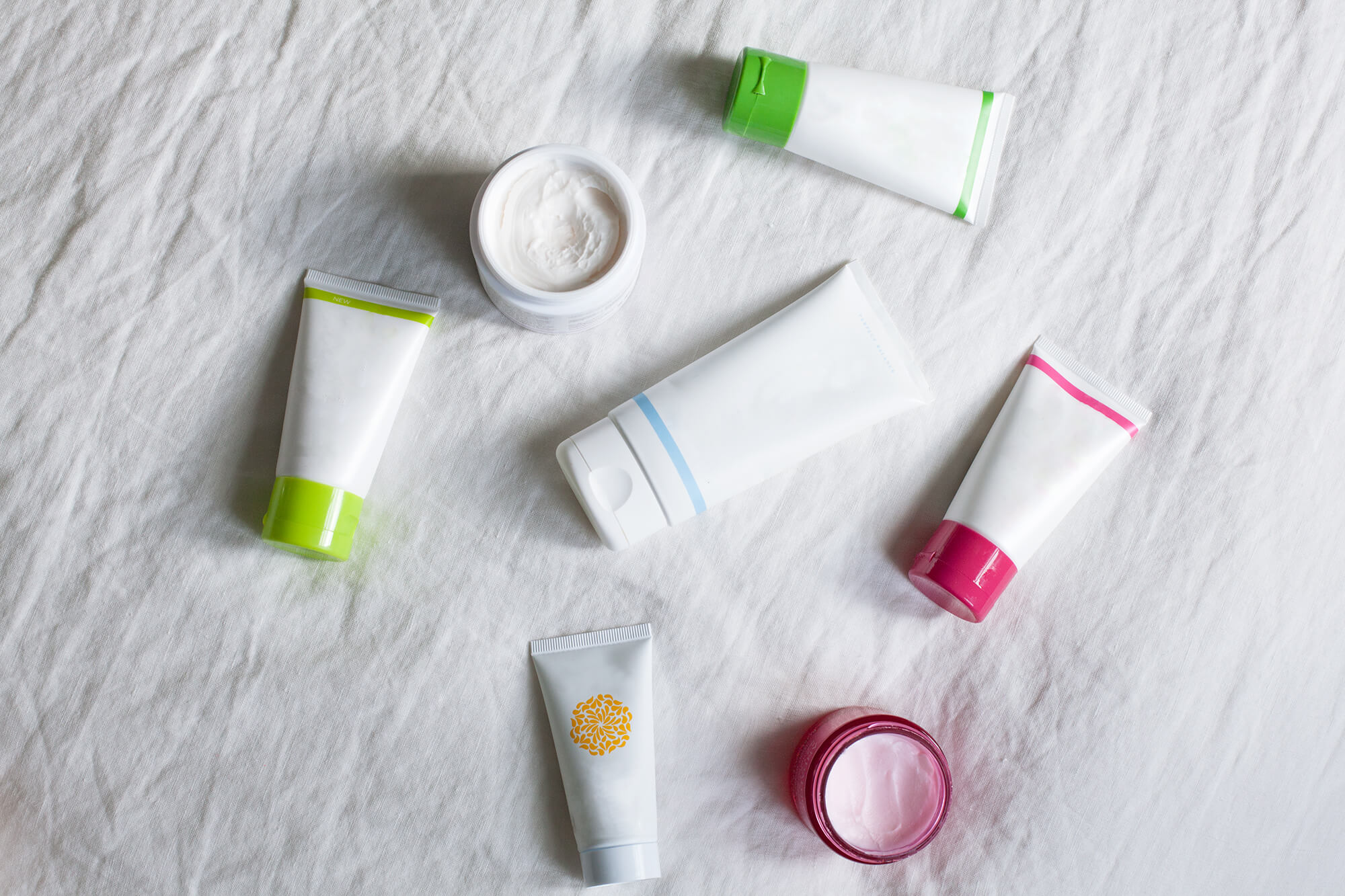 Flat lay of skincare products