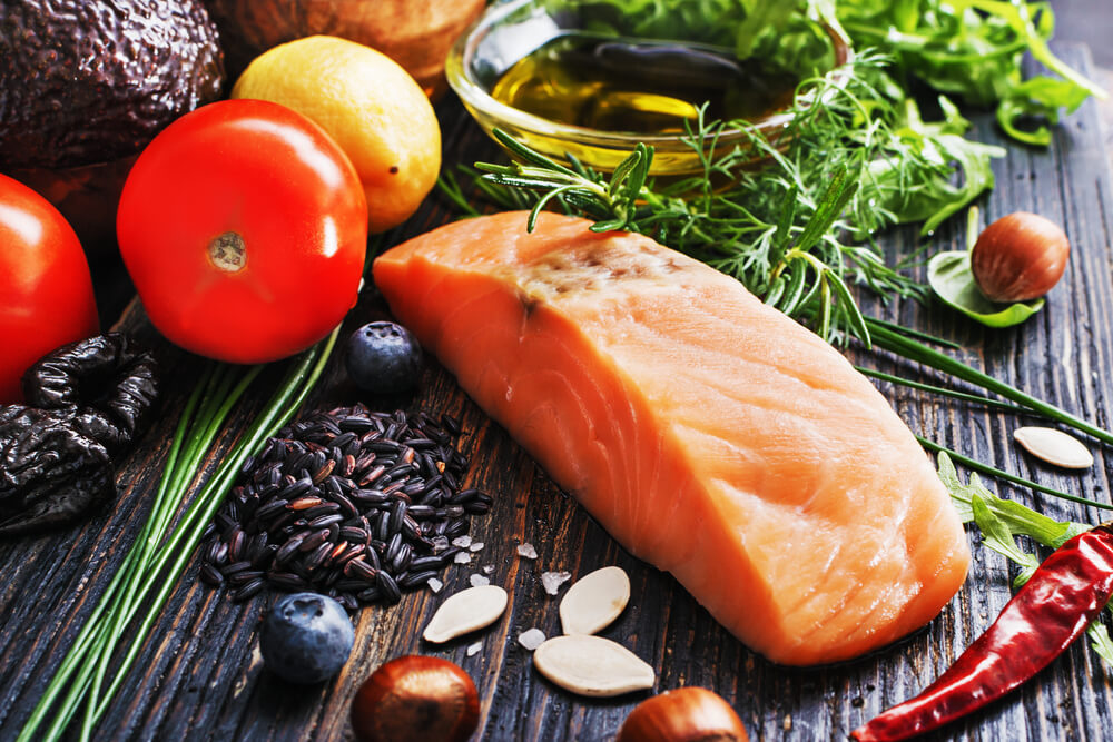 Image of raw salmon and vegetables