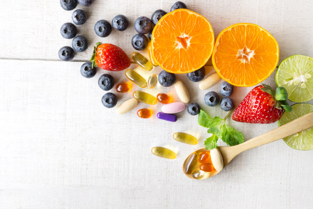 Fresh fruits and supplement capsules