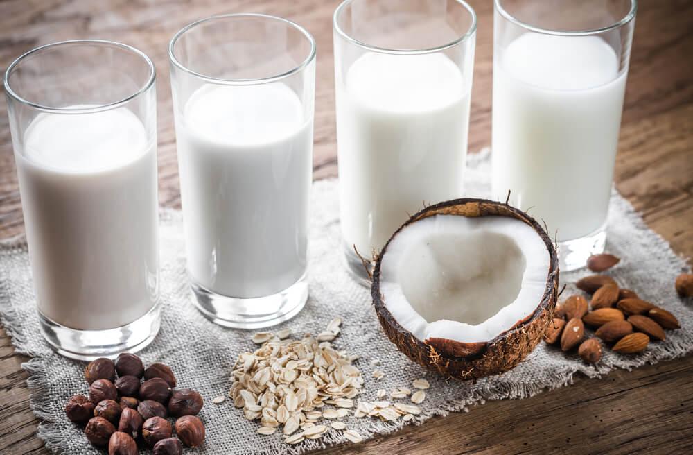 4 glasses of dairy- free milk