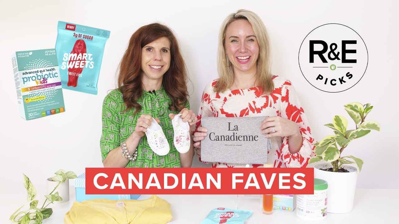 2 woman with a variety of Canadian products