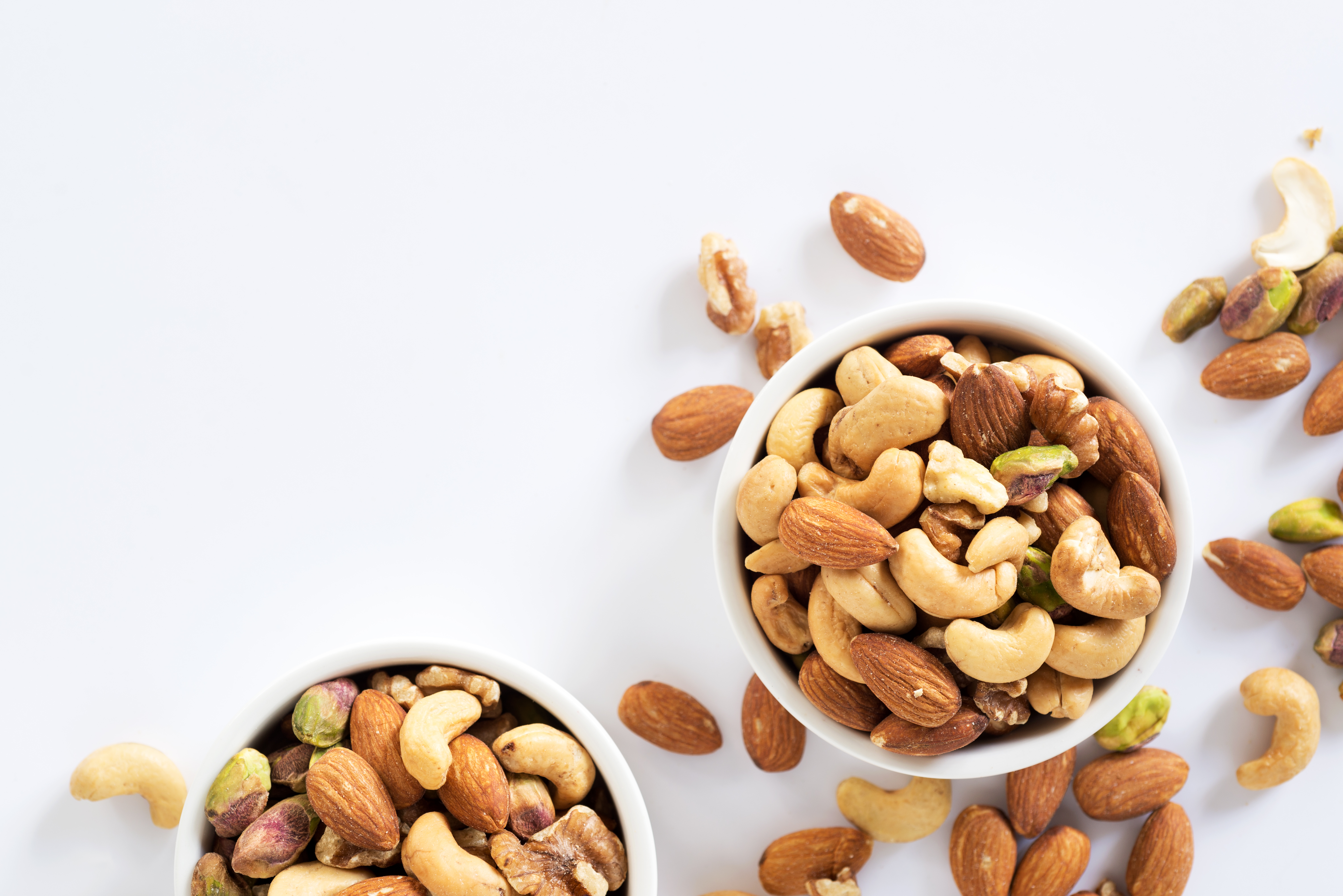 mixed nuts in bowls