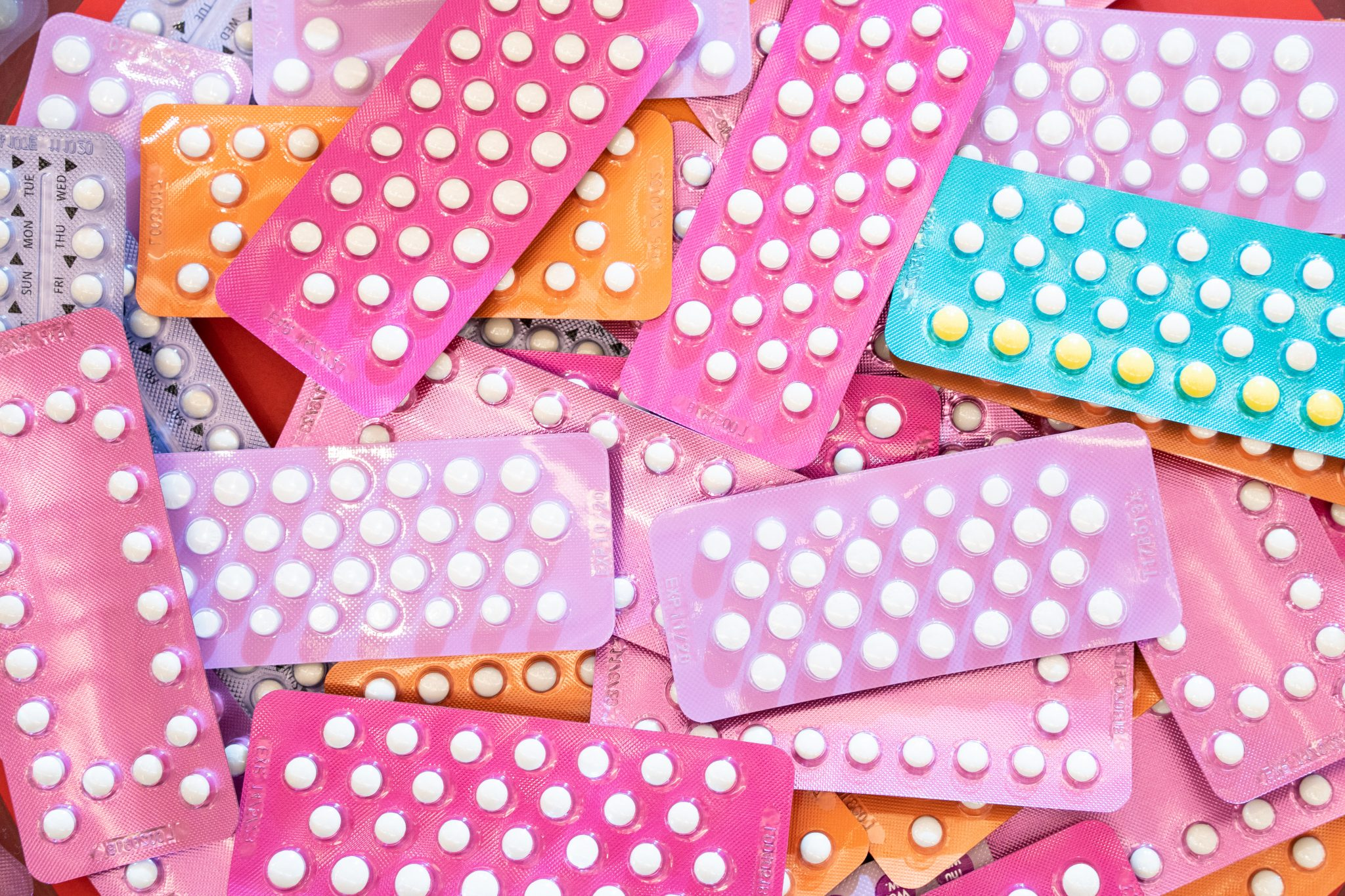 colourful birth control packages