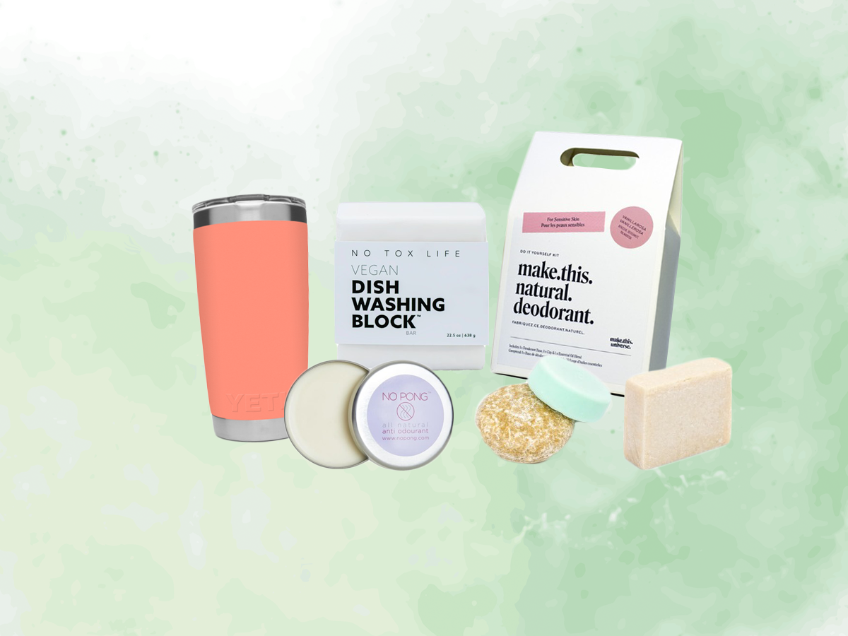 sustainable products on a green background