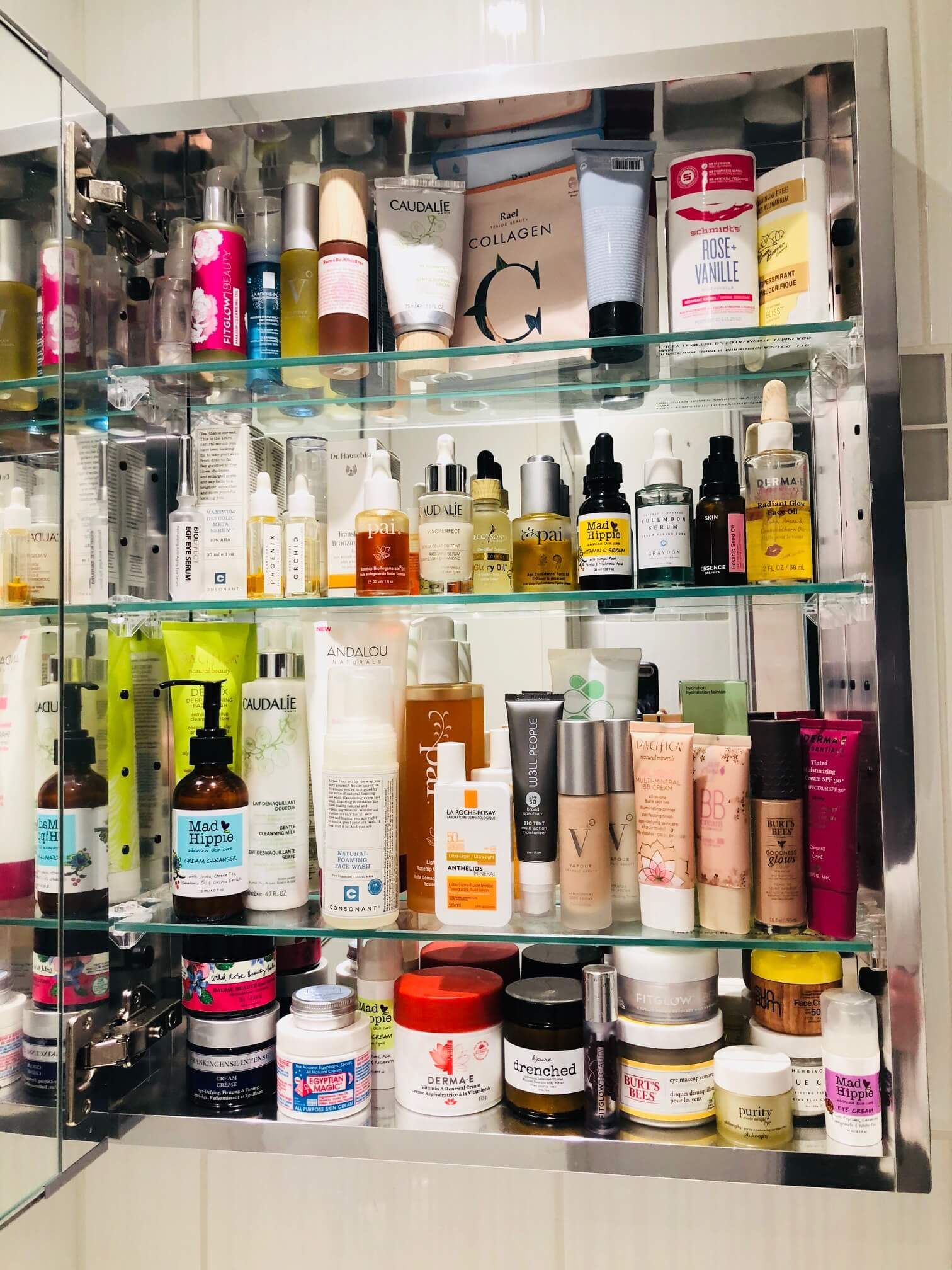 Beauty products in a medicine cabinet