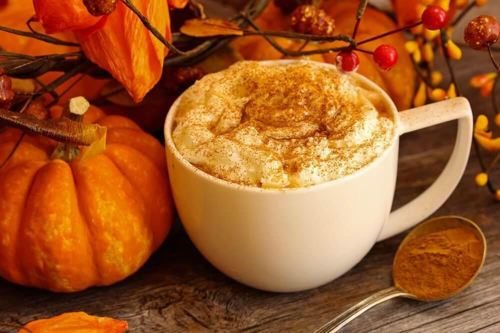 pumpkins and a pumpkin spiced latte