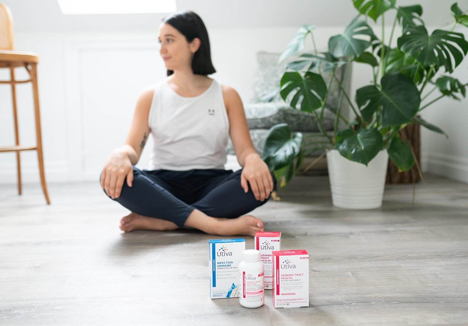 woman meditating sitting on floor