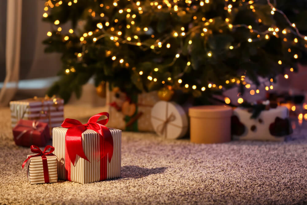 holiday gifts under a tree