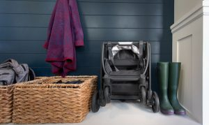 stroller tucked away