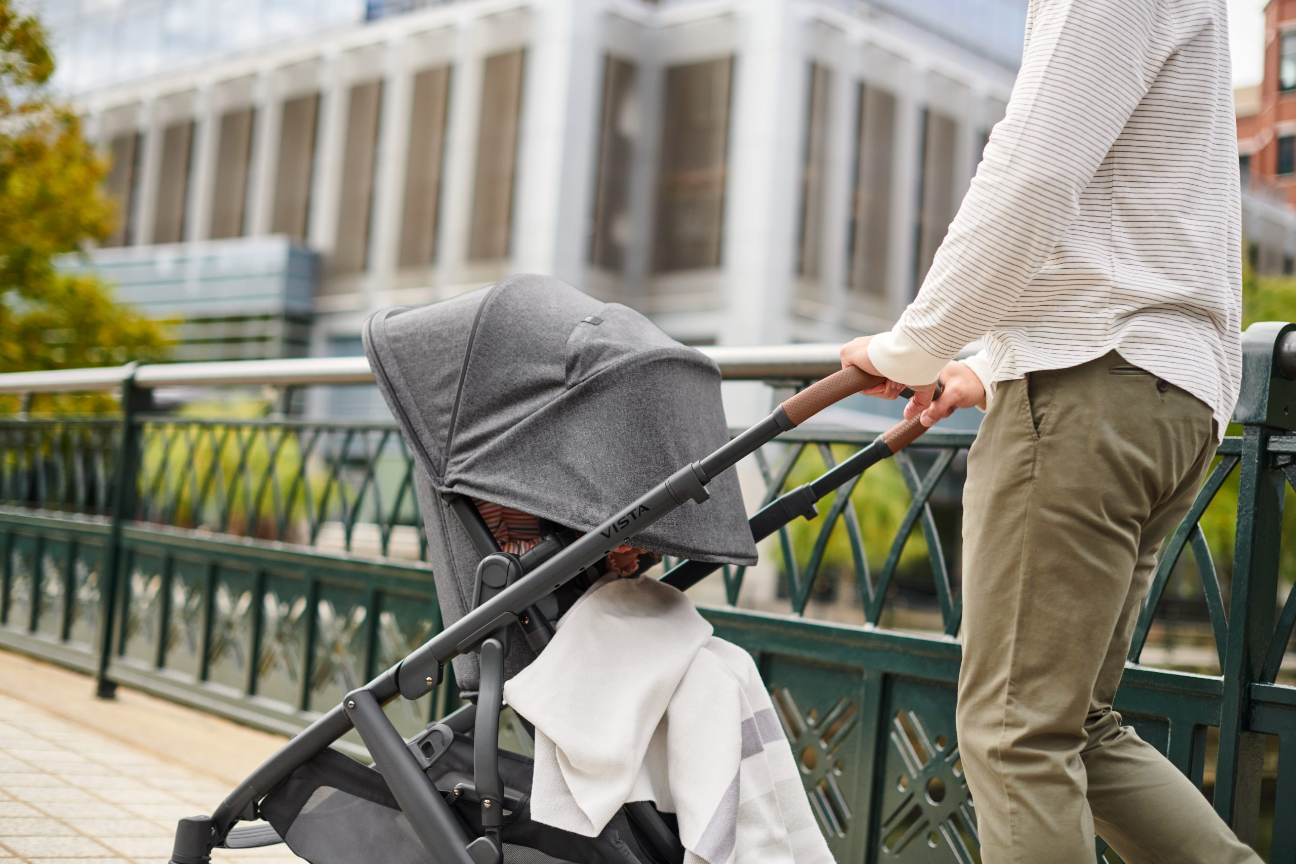 Man pushing a stroller