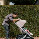 Dad pushing stroller