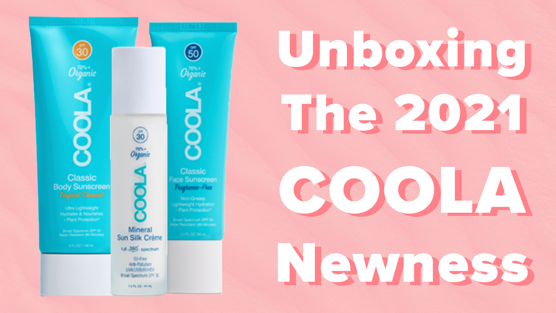 New COOLA Products on pink background
